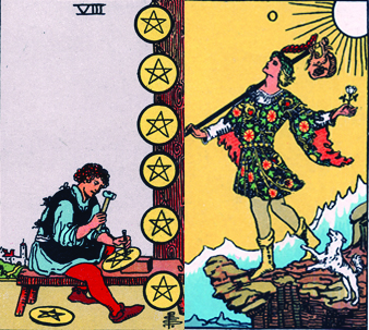 8 of Pentacles and the Fool