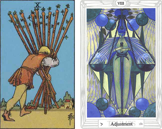 RWS 10 of Wands with Thoth's #8 - Adjustment