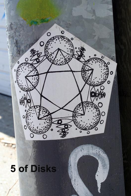 5 of Disks - Toronto Graffiti Tarot (WIP)