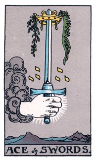 Ace of Swords from the Rider Waite Smith Tarot